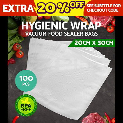 100 PCS Vacuum Sealer Bags Precut Food Storage Saver Heat Rolls 20X30CM