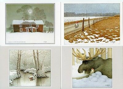 16 NEW Assorted Swedish Postcards by Lennart Helje Tomte Gnome with Moose Lynx