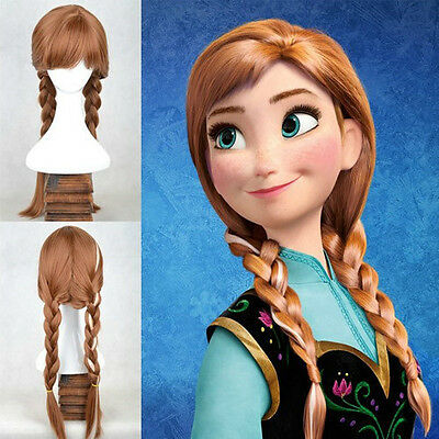 Disney Frozen Anna Princess Adult Ponytail Wig Hair for Halloween Cosplay Party