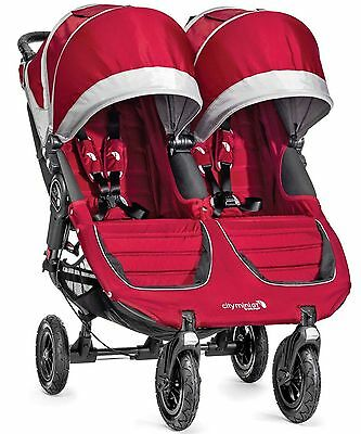 Baby Jogger City Mini GT Double Twin All Terrain Stroller Crimson Gray NEW 2016