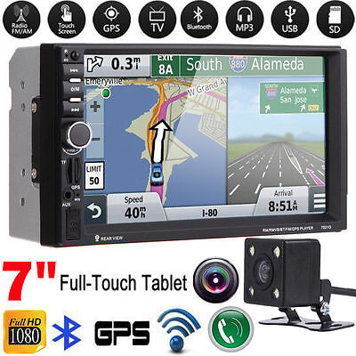 "7"" HD Double 2 DIN Car Stereo GPS MP3 MP5 Player Bluetooth Touch Radio W/Camera"