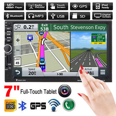 "GPS Navi 7"" Double 2Din HD Touch Bluetooth Car Stereo MP5 Player USB/TF/FM DVR"