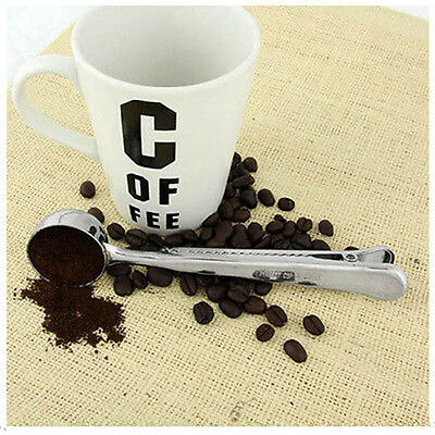 2 in1 Stainless Steel Ground Coffee Measuring Scoop Spoon $ Bag Seal Clip Silver
