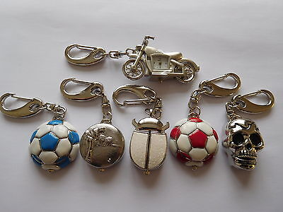 Motor Bike, Golf, Skull, Football + Bug Key Ring Watches