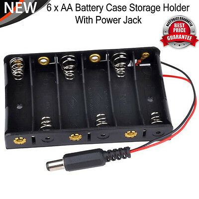 New 6 x AA Battery Case Storage Holder With DC2.1 Power Jack For Arduino