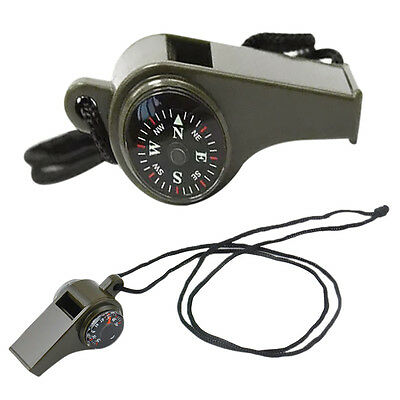 3 in1 Thermometer Compass Outdoor Emergency Survival Gear Camping Hiking Whistle