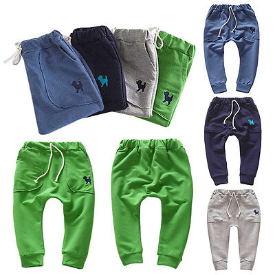 HOT Stylish Kids Boy Girl Comfortable Harem Pants Cotton 2-7Y Baby Trousers AS1