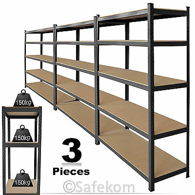 1800x900x400mm 3x Workshop Rack Boltless Storage Unit Heavy Duty 5 Tier Shelves