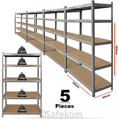 5 Bay Shelving Unit Heavy Duty 5 Tier Boltless Garage Shelf Steel Racking Rack