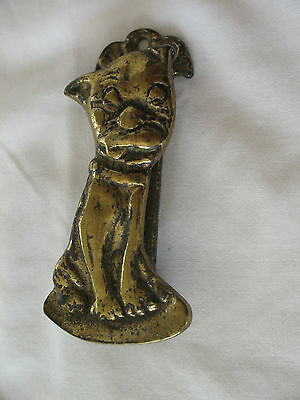 Old antique Edwardian reclaim brass George E Studdy BONZO the Dog door knocker