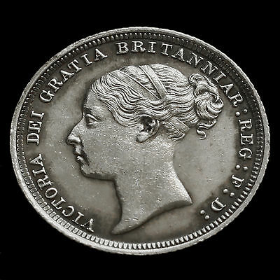 1887 Victoria Young Head Silver Sixpence – A/UNC