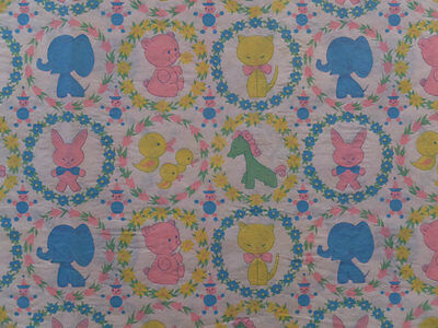 VINTAGE 50's ELEPHANT PONY BUNNY KITTY DUCK BABY SHOWER GIFT WRAP WRAPPING PAPER