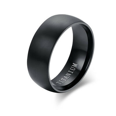 8MM Men's Black Titanium Steel Ring Wedding Engagement Anniversary Band Size6-13