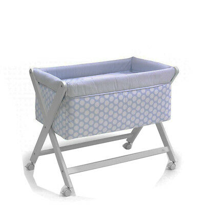 Cambrass 34171 Small Wood bed One x-Shape, 46 x 78 cm, Ter light blue Baby bed