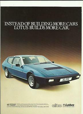 LOTUS ELITE 'FLYER' SALES 'BROCHURE'/SHEET  MID 70's