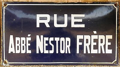 Old French enamel street sign road name Abbé Nestor Frère monk abbot Froyennes