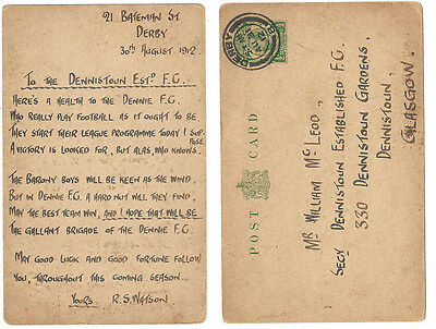 DENNISTOUN Established Church Football Club 1912 Postcard to the Secretary