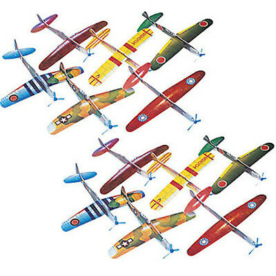 (12) Foam WWII Airplane Gliders Colorful Toys Child Fun Party Favor Kids