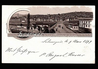 Greece Salonique Salonika Gruss Aus Chromo-Litho Postcard E20C Gr07