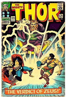 THE MIGHTY THOR #129 (VG/FN) 1st ARES! 1st Tana Nile! Stan Lee! Jack Kirby! 1966