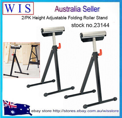 2xAdjustable Single Roller Stand,60Kg Load,Workshop Roller Stand Bench Saw-23144