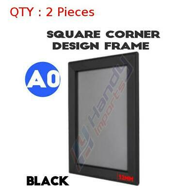 2 BRAND NEW A0 Heavy Duty Black Square Corner Snap Frame /Poster Frame 32MM