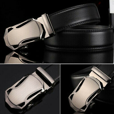 Genuine Leather Mens Automatic Buckle Belts Fashion Waist Strap Belt Waistband