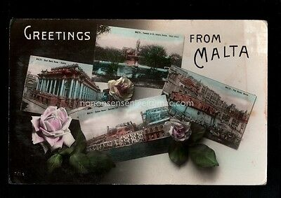 Malta - Greetings From - Four Image Multiview - Real Photo Postcard E20C M451