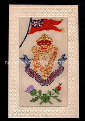 Wwi Silk Embroidered Postcard S164 - Connaught Rangers Ireland