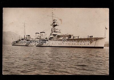 Greece Dracomisti H. M. S. Danae Warship Real Photo Postcard 1925 Hms03