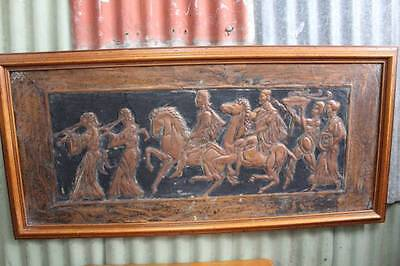 A Large Timber Framed Copper Embossed Artwork
