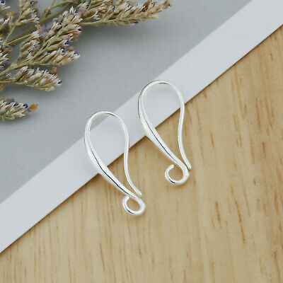 NEW 10-50X Make Jewelry Findings Silver Smooth Pinch Bail Ear Wire Hook Earring