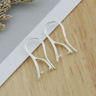 NEW Make Jewelry Findings Silver Smooth Pinch Bail Ear Wire Hook Earring Gift 06