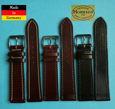 XS Cordovan Shell Horween Uhrband 17,18,19, 20mm 2. WAHL schwarz braun Germany