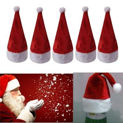 10Pcs CHRISTMAS BOTTLE TOP SANTA HAT COVER WINE STOPPERS DINNER PARTY DECOR - CB