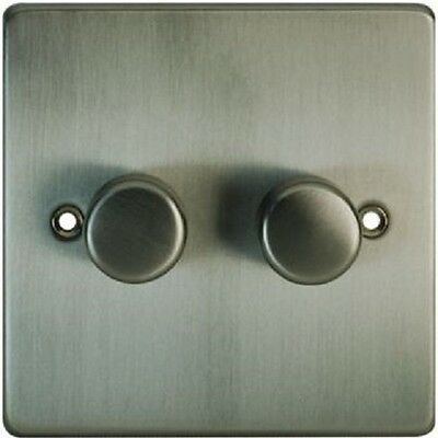 Home Base Flat Plate Double Dimmer Switch 2 Gang 250W Black Nickel Finish 15673