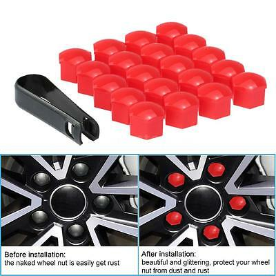 Red 20Pcs Universal 17mm Car Wheel Nut Cover Bolt Cap With Removal Tool U0D0