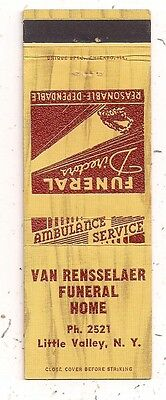 Van Rensselaer Funeral Home Ambulance Service Little Valley NY Matchcover 072416