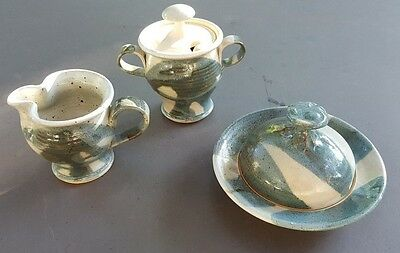 Butter Dish Creamer Sugar Bowl w/ lid and spoon Set Signed Art Pottery Handmade