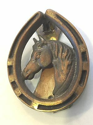 Antique Equestrian Collectable Rustic Horse Head & Shoe Heavy Brass Door Knocker