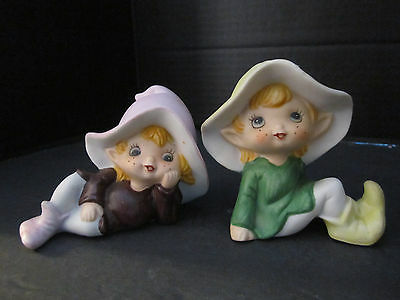 "2 VINTAGE PORCELAIN FIGURINES GIRL IN A HAT PIXIE ELF HOMCO. 4"" long."