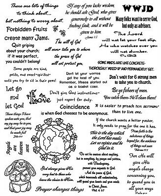 unmounted rubber stamps sheets bible verses humor christian