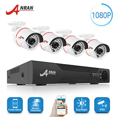ANRAN 4CH 1080N HDMI DVR 1800TVL Outdoor CCTV Video Home Security Camera System