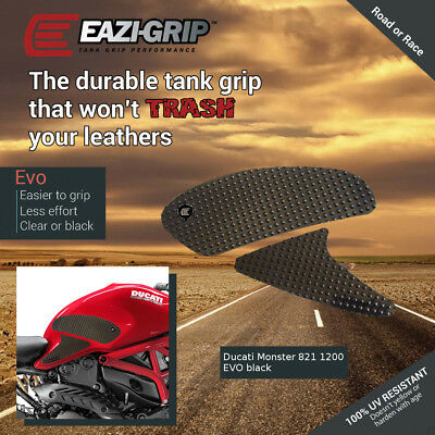 Eazi-Grip EVO Tank Grips for Ducati Monster 821 and 1200, clear or black