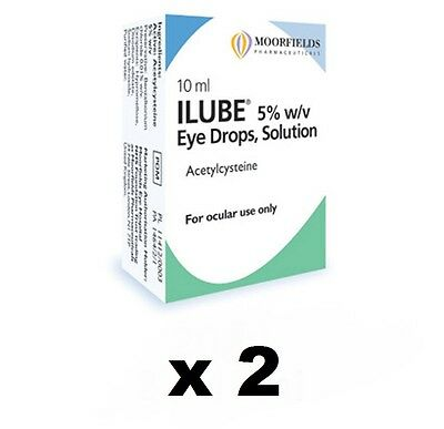 Moorfields Ilube eye drops solution 20ml (2 x 10ml) Free fast delivery