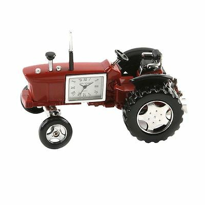 Widdop Miniature Clock - Tractor Red & Black Roman Dial Face - 9236R - New