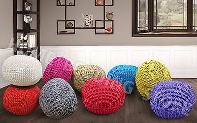Large Chunky Knitted 100% Cotton Round Pouffe Handmade Foot Stool Ottoman