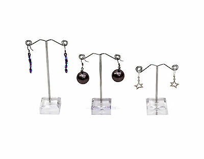 3-Piece Earring Display with Acrylic Base in Clear or Black (G221)