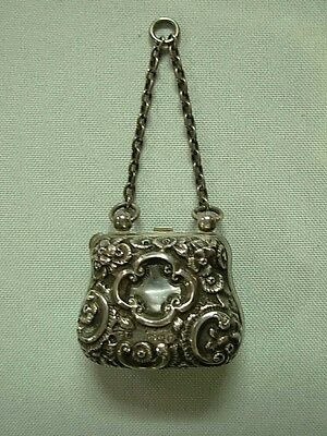 Antique George Unite A. Barrett & Sons Sterling Repousse Mini Chatelaine Purse
