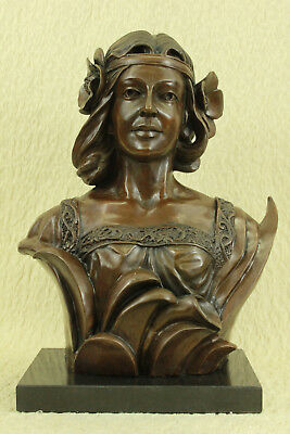 Fabulous Vintage French Art Nouveau Hot Cast Bronze Figural Bust Hand Made Large